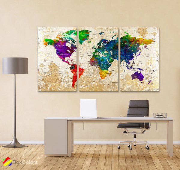 "LARGE 30""x 60"" 3 panels 30x20 Ea Art Canvas Print Watercolor Map World Push Pin Travel M1826 - BoxColors"