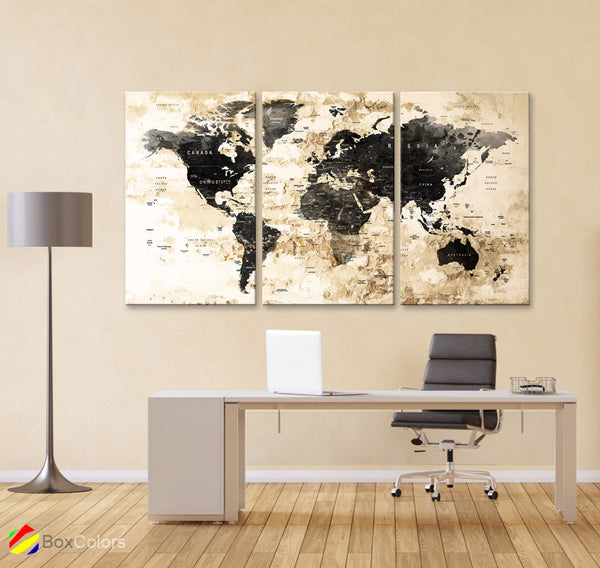 "LARGE 30""x 60"" 3 panels 30x20 Ea Art Canvas Print Watercolor Map World Push Pin Travel M1827 - BoxColors"