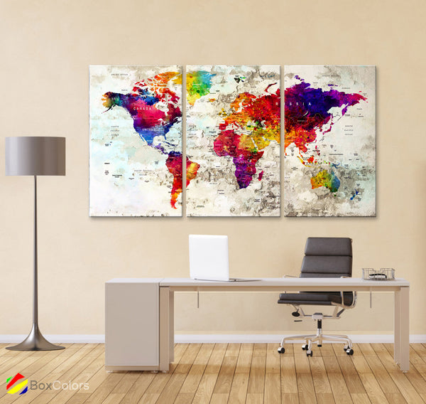 "LARGE 30""x 60"" 3 panels 30x20 Ea Art Canvas Print Watercolor  Map World Push Pin M1830 - BoxColors"