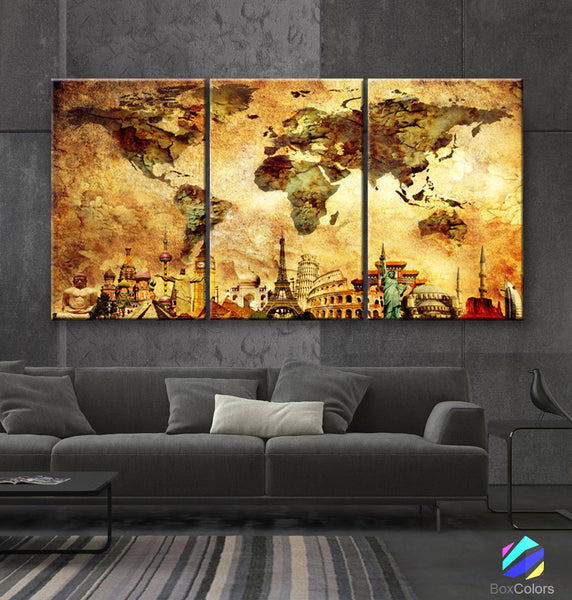 "LARGE 30""x 60"" 3 panels 30x20 Ea Art Canvas Print Map World Wonders of the World Old wall  M1842 - BoxColors"