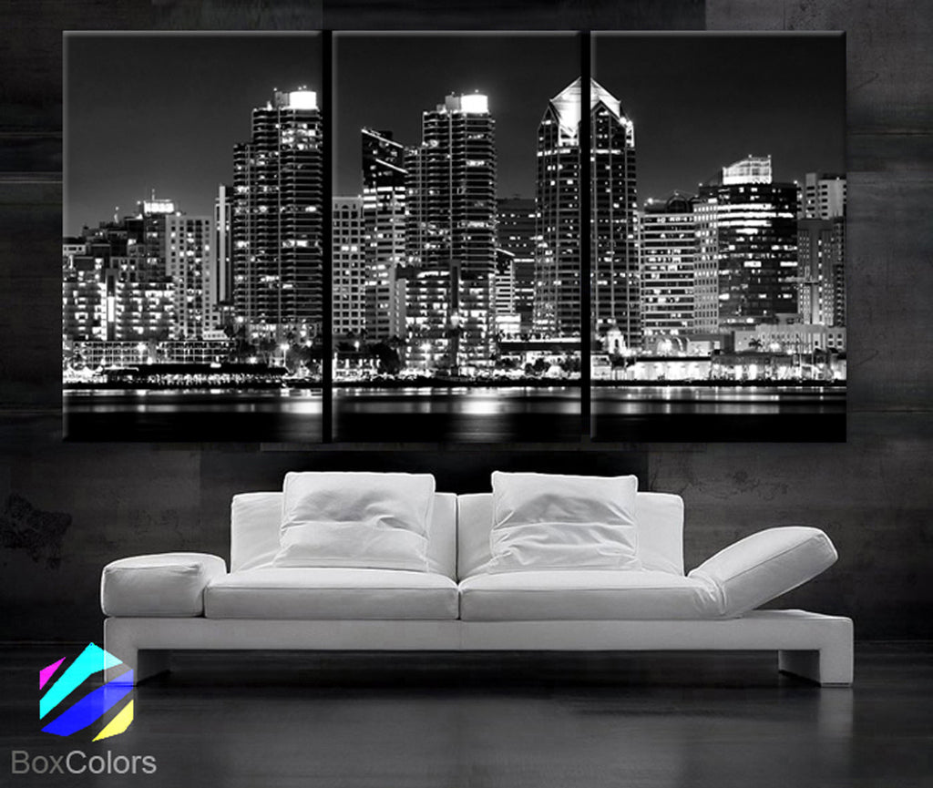 "LARGE 30""x 60"" 3 Panels Art Canvas Print Beautiful San Diego CA skyline light buildings downtown Wall Home Office decor (framed 1.5"" depth)"