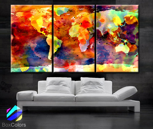 "LARGE 30""x 60"" 3 Panels 30""x20"" Ea Art Canvas Print Original Watercolor World Map colors Wall Home office decor interior (Included framed 1.5"" depth) - BoxColors"