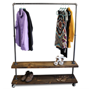 90D Double Shelf - Industrial Clothes Rack