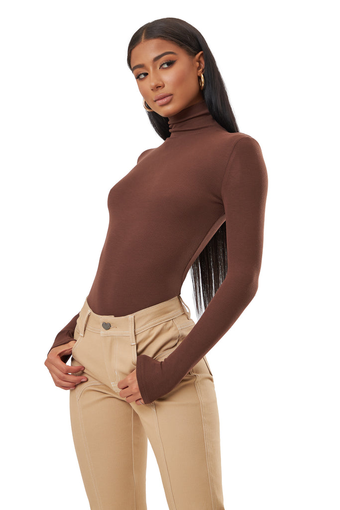 Honore Turtleneck Bodysuit - Brown
