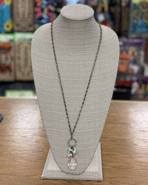 Pearl Cluster and Crystal Necklace