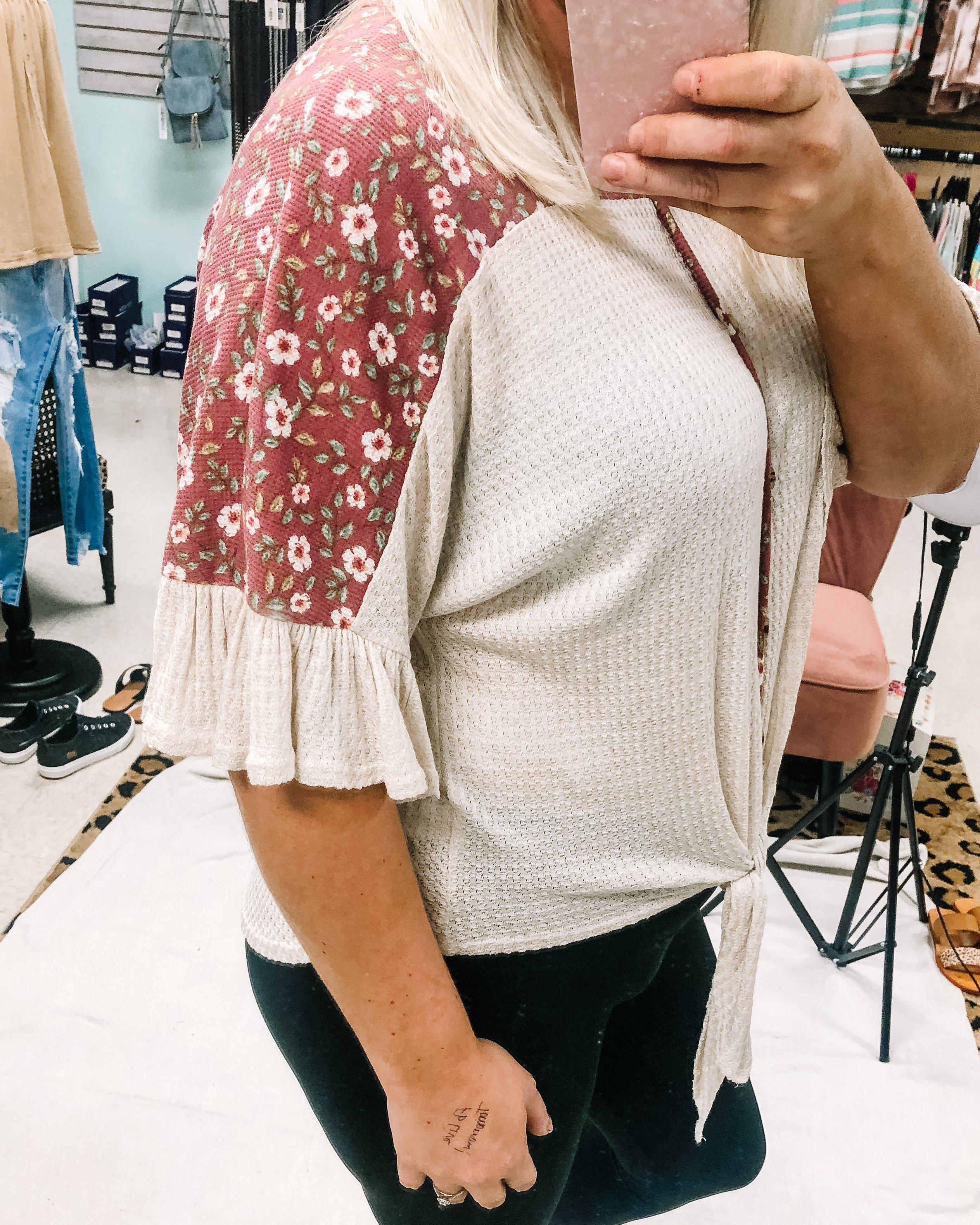 Oatmeal and Floral Ruffle Sleeve Top