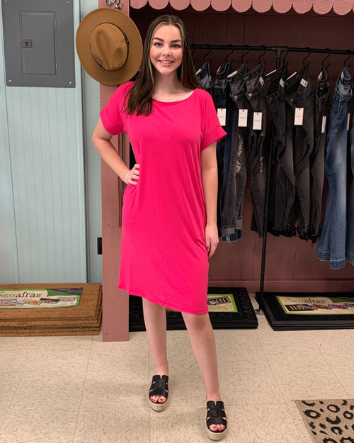 Rolled Short Sleeve Dress - Hot Pink