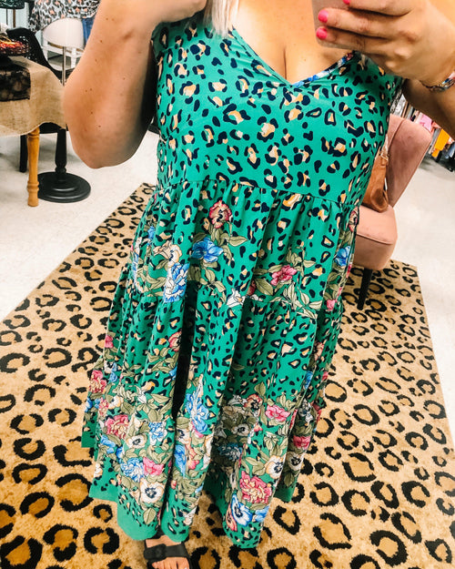Leopard and Floral Print Dress