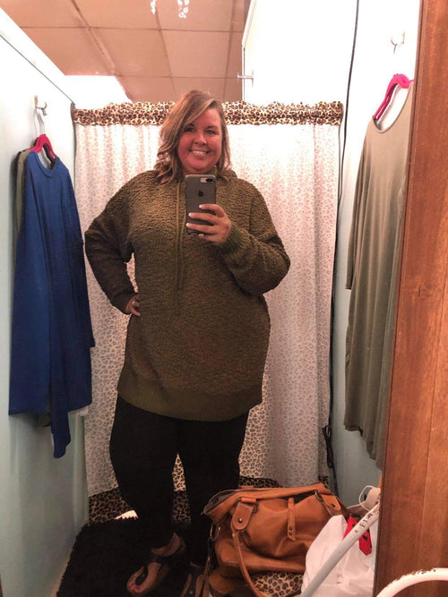 Curvy Hooded Popcorn Sweater
