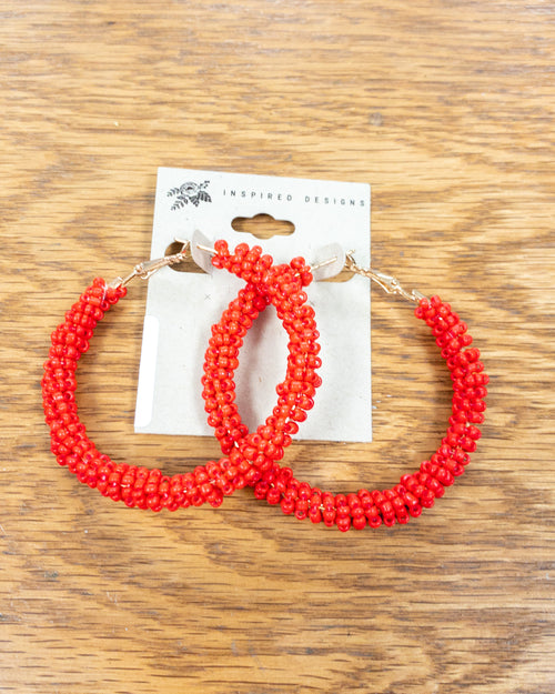 Red Seed Bead Hoops