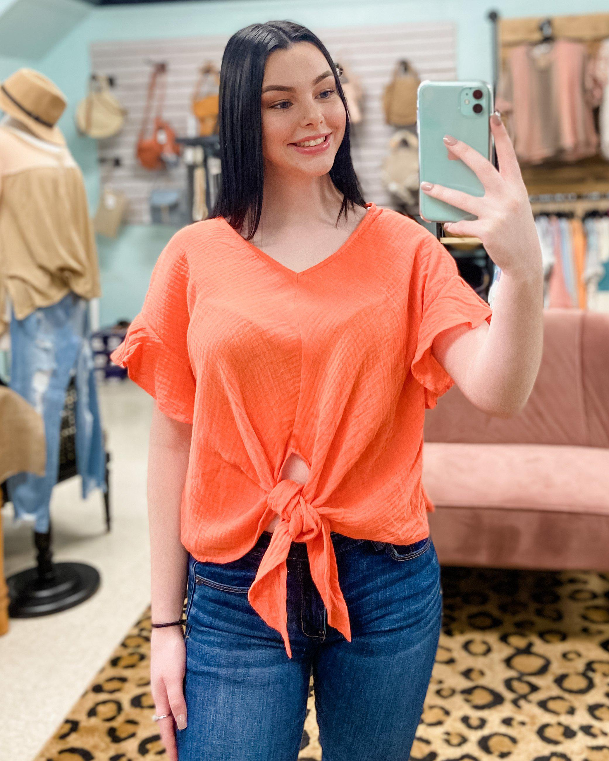 Flutter Sleeve Front Tie Cropped Top (2 colors)