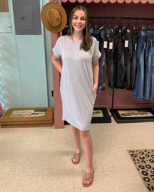 Rolled Short Sleeve Dress - Heather Grey