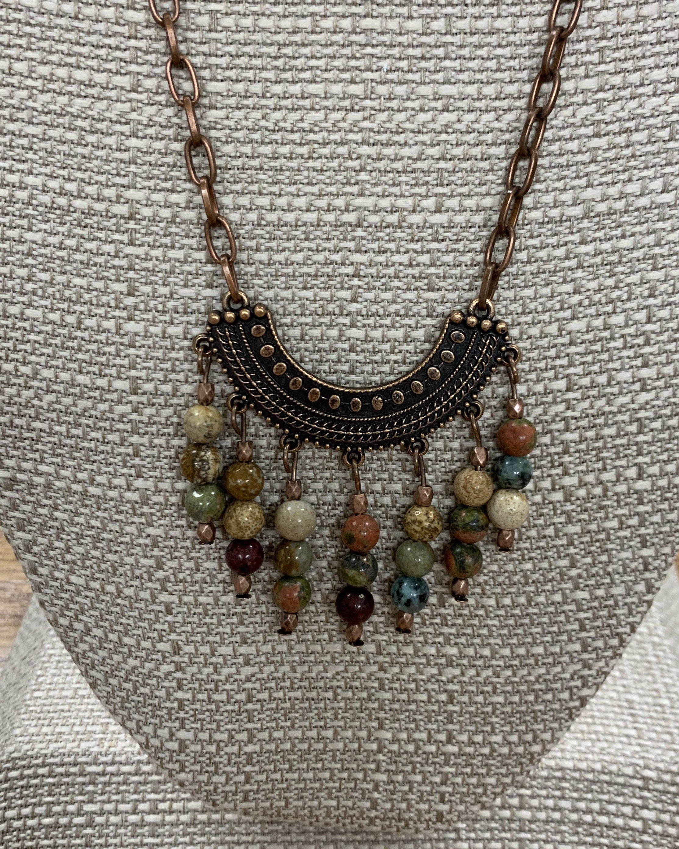 Copper Crescent and Stone Bead Necklace