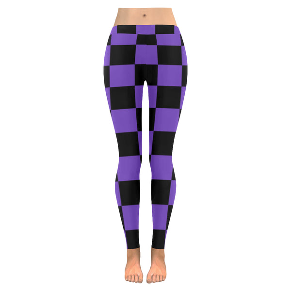 BJai Checkered Purple Low Rise Leggings
