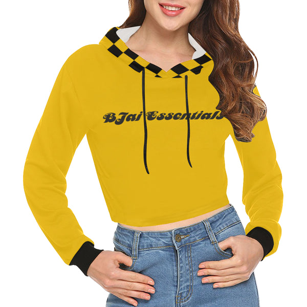 BJai Checkered Yellow Crop Hoodie