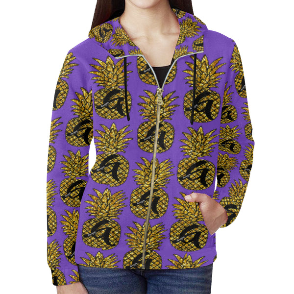 Purple Pineapple Zip Hoodie for Women