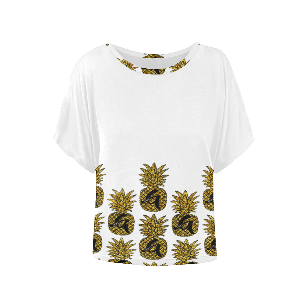 Gangish Pineapples Icy White Women's Batwing-Sleeved Blouse