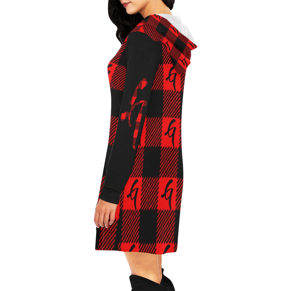 Gangish Flannel Print Hoodie Mini Dress
