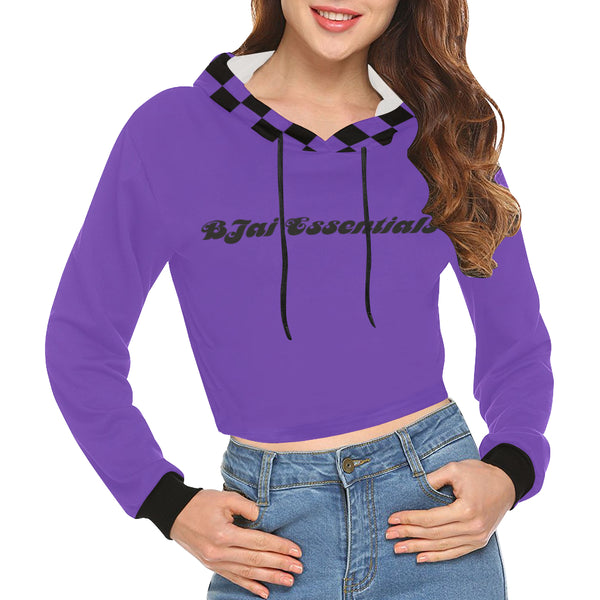 BJai Checkered Purple Crop Hoodie