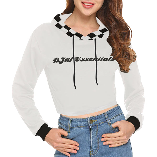 BJai Checkered White Crop Hoodie