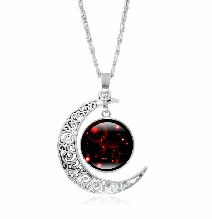 Glass Galaxy Moon Necklace
