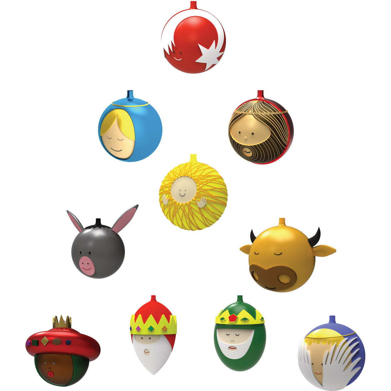 le palle presepe small christmas ornaments by alessi set of 10 - Small Christmas Ornaments