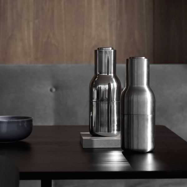 Bottle Grinders, Small, Brushed Stainless Steel by Menu