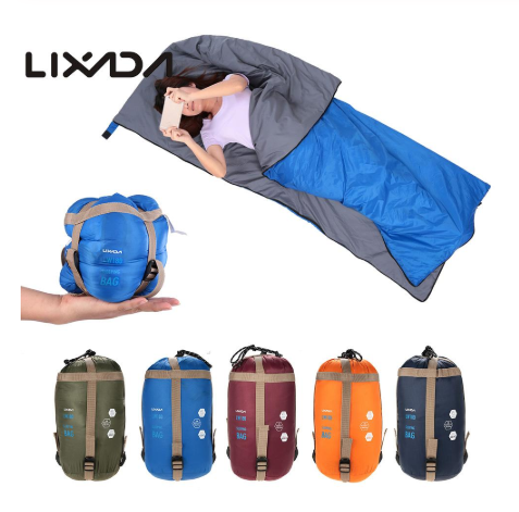 LIXADA 190 * 75cm Outdoor Envelope Sleeping Bag Camping Travel Hiking Ultra-light Sleeping Bag Travel Bag Hiking LW180 680g