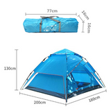 4 Person Family Camping Automatic Tents Cabin Canvas Swag Outdoor Large Space