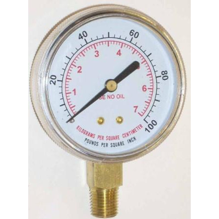2 1/2 inch Oxygen Low Pressure Gauge - ATL Welding Supply