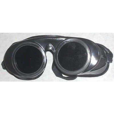 Black Welding Goggles 50mm Round Lens Fixed Front Shade 5 - ATL Welding Supply