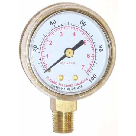 2 inch Oxygen Low Pressure Gauge - ATL Welding Supply