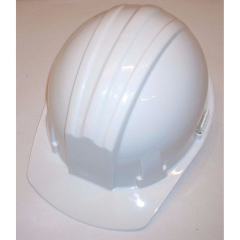 White Cap style Hard Hat 4 Point Suspension Adjustable Ratchet Headgear & Strap