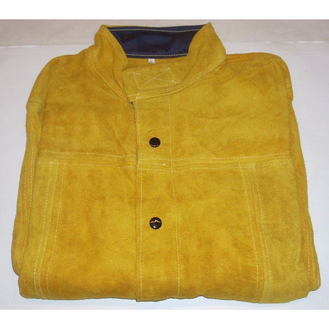 "Leather Welding Cutting Safety Jacket 30"" Long Snap Front Inside Pocket Size LG"