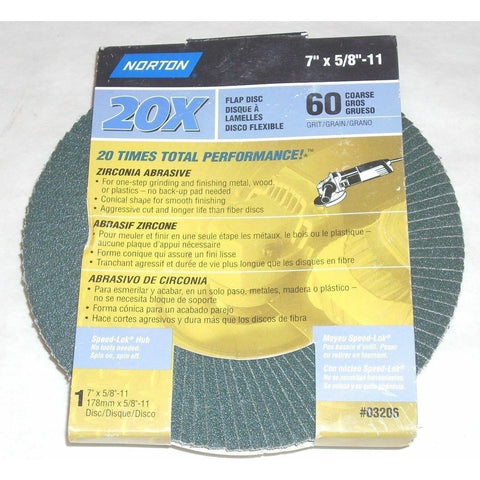 Norton 03206 7 x 5/8-11 60g Zirconia Flap Disc Type 29