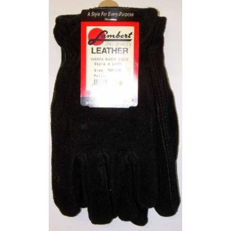 Lambert Black Ranch Suede Gloves Sherpa Lined Medium
