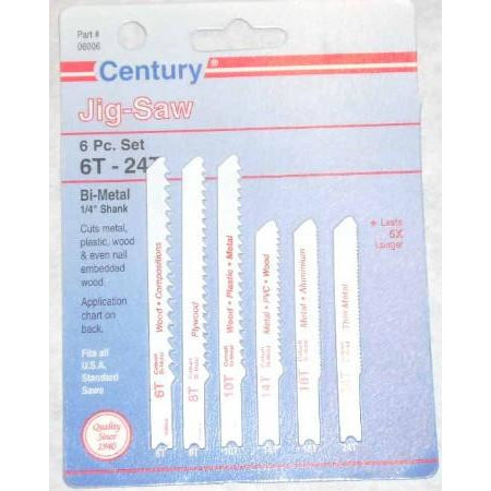 Century 6pc Jigsaw Blade Set 6T-24T - ATL Welding Supply