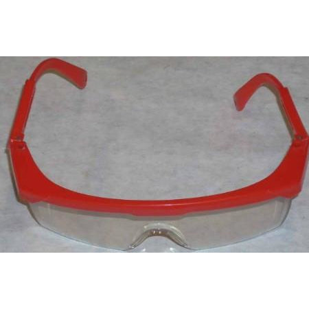 Clear Safety Glasses Red Frame
