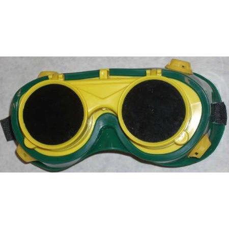 Green Yellow Welding Goggles Round Flip Lens - ATL Welding Supply