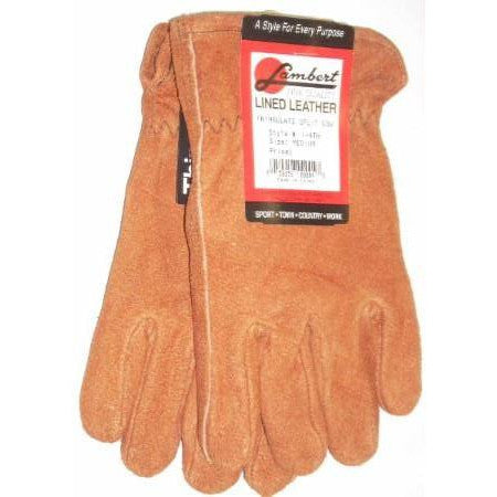 Lambert Split Cow Rust Leather Gloves Thinsulate Lined Medium - ATL Welding Supply