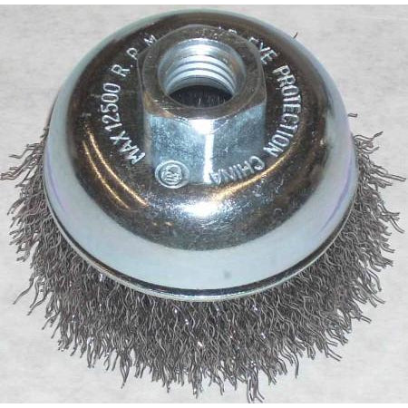 Lincoln 3 x 5/8-11 Crimp Wire Cup Brush - ATL Welding Supply