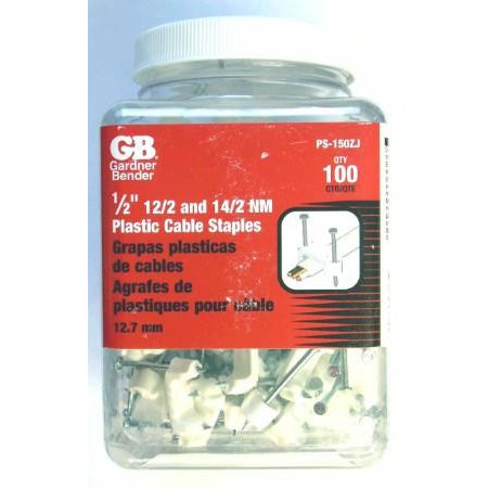 "100 Ideal 1/2"" 12/2 & 14/2 NM Plastic Cable Staples"