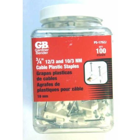 "100 GB 3/4"" 12/3 & 10/3 NM Cable Plastic Staples - ATL Welding Supply"