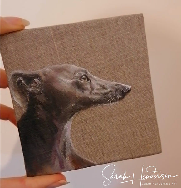 Whippet Oil Painting