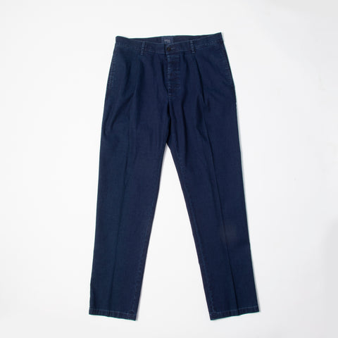 1 Pleat Oxford Pant Indigo