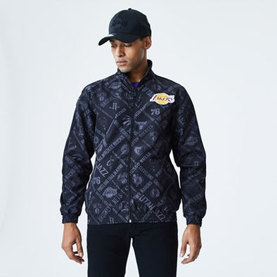 FRONT ZIP WIND BREAKER | LAKERS NBA BLACK - Invog