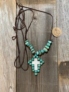 Turquoise & Mother of Pearl Cross