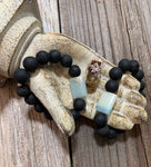 Natural Black Beads & Aqua Quartz Stone