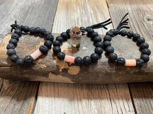 Natural Black Beads & Pink Opal Stone with Leather Tassel