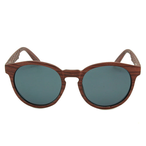 Unisex Round Sunglasses Cabo Smoked Wood